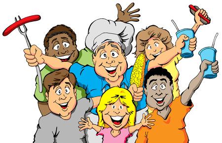 피크닉을 축하하는 사람들의 그룹 일러스트