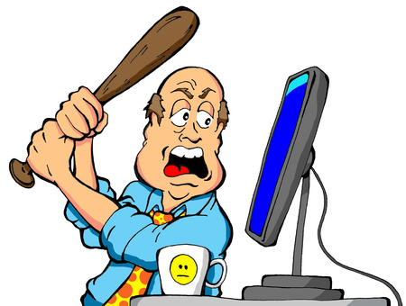 Cartoon of an angry computer user about to destroy his computer with a baseball bat Illustration