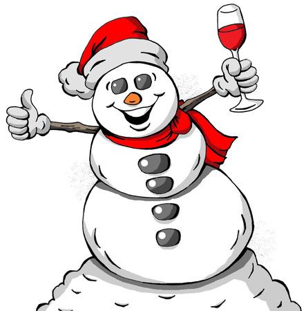 祝う雪だるまの漫画イラスト