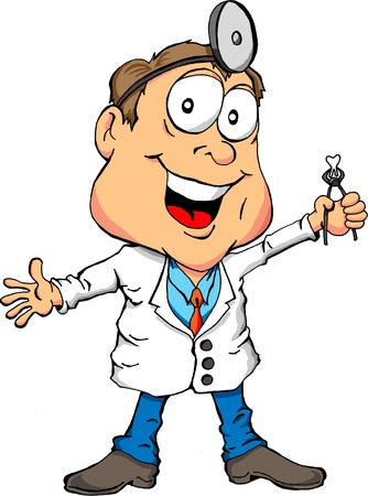 Cartoon of a Dentist Holding a Tooth