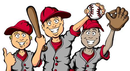 야구를 할 준비가 된 아이들의 그룹의 만화