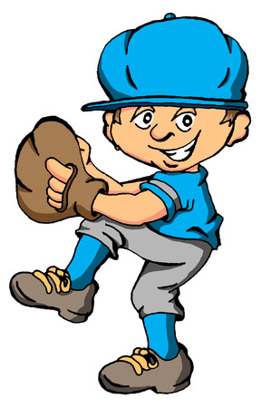 Vector cartoon of a boy about to throw a baseball pitch