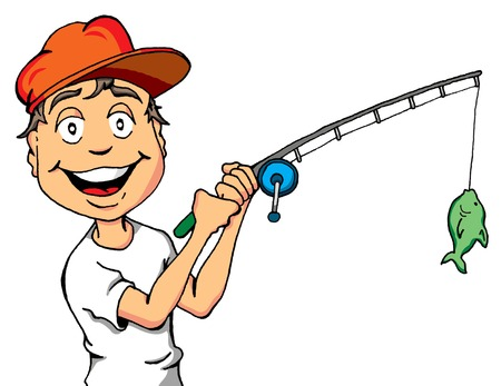 fishers: Vector Cartoon of a Happy Kid Who Just Caught a Fish