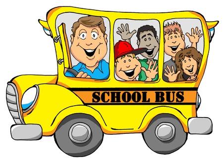 子供たちと学校のバスのベクトル イラスト