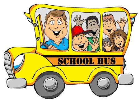 Vector Illustration of a School Bus with Kids Illusztráció