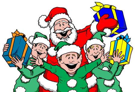 サンタと Elf の漫画イラスト  イラスト・ベクター素材