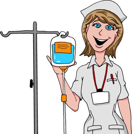 Nurse preparing IV drip.