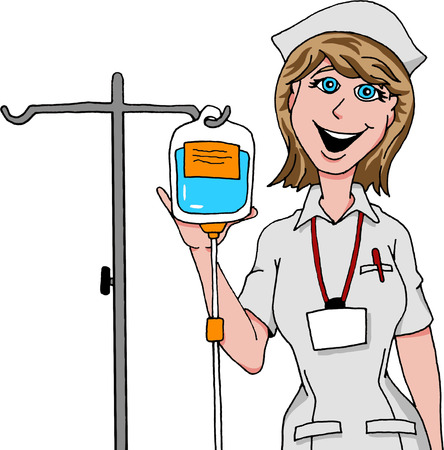 enfermera caricatura: Enfermera de la preparaci�n de goteo IV. Vectores