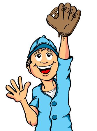 キャッチすること幸せな少年野球  イラスト・ベクター素材