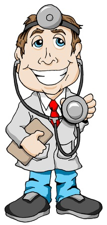 Smiling Doctor with a clipboard and stethoscope. Illusztráció