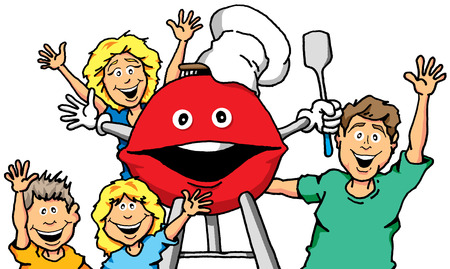 笑顔のグリルを持つ家族のベクトルの漫画