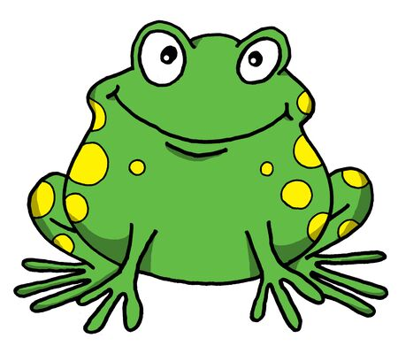 Vector cartoon of a happy frog Illusztráció