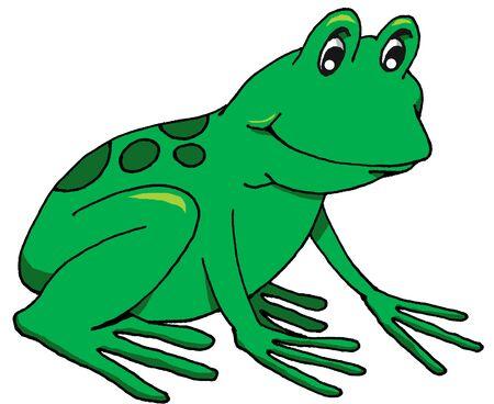 행복 개구리의 벡터 만화 일러스트