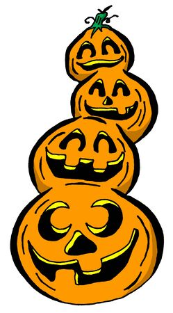 Cartoon Illustration of a Stack of Pumpkins Stock fotó - 44945441