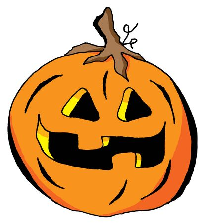 Humorous Illustration of a Happy Halloween Pumpkin Illusztráció