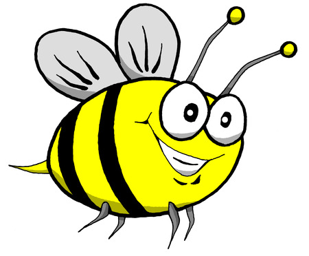 Vector Cartoon of a Happy Bumble Bee in Flight