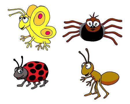 나비, 거미, 무당 벌레, 개미