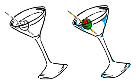 Vector Martini Illustration in BW and Color.