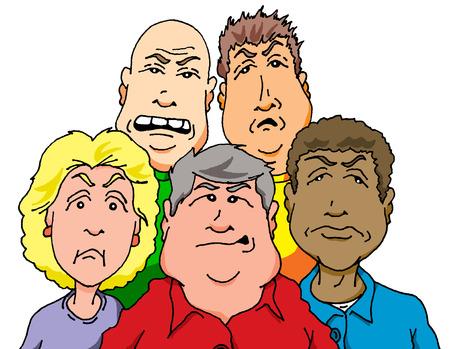 不機嫌そうな人々 のグループのベクトルの漫画