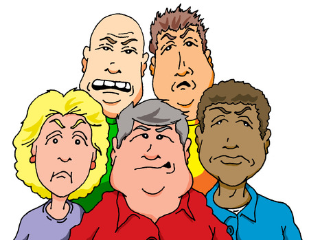 cranky: Vector cartoon of a group of Cranky People