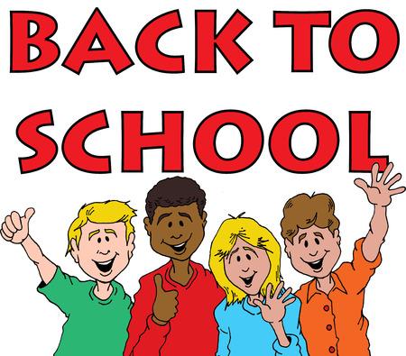 学校に戻るを祝っての子供のグループの漫画