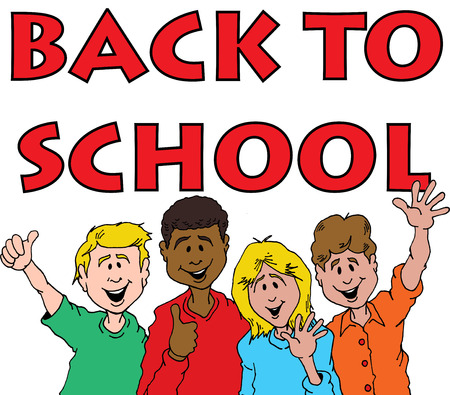 학교에 다시 축하하는 어린이 그룹의 만화