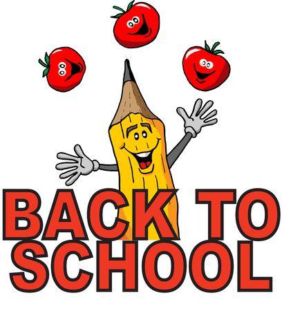 学校に戻って祝うジャグリング鉛筆漫画