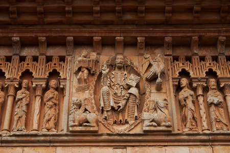palencia province: Detailed view from the frieze of the romanesque chuch of the small village called Moarves de Ojeda in the province of Palencia Spain