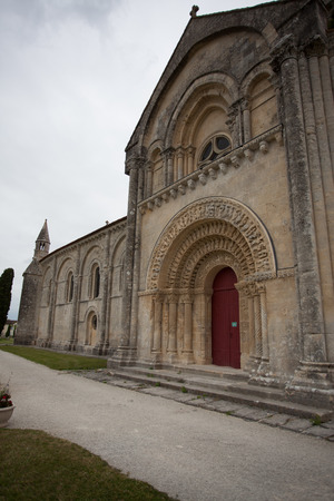 way of st james: South facade view of Aulnay de Saintonge church in Charente Maritime region of France