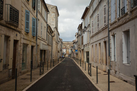 germanic: Typical street in Saintes with ist Germanic roman arch at the bottom, Charente,France