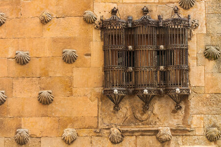 Detail Beautiful Window With Old Forge In The House Of Shells ,Salamanca  Spain