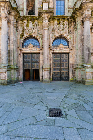 View of the north double door entrance to the Cathedral of Santiago de Compostela ,Spain photo