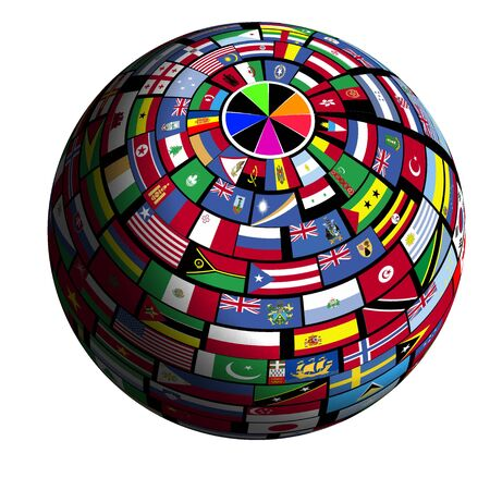 quadrant: Flags of all nations cover the earth surface. Stock Photo