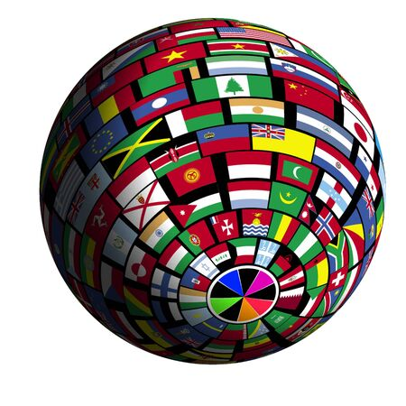 crowded space: Flags of all nations cover the earth surface. Stock Photo
