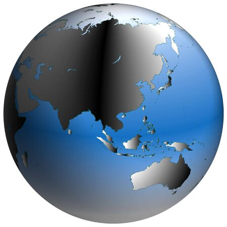 coordinates: Highly-detailed world map in spherical co-ordinates, with Asia continent in view Stock Photo