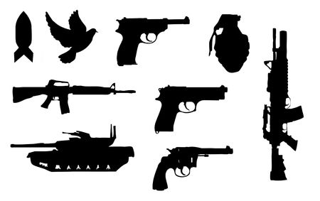weapons: Silhouettes of assorted guns and weapons Stock Photo