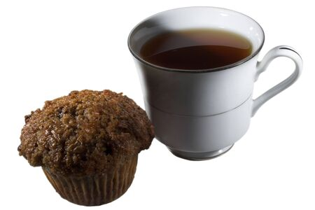 Cup of tea and a muffin Stock Photo