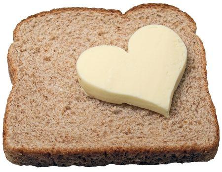 Butter heart on a slice of bread