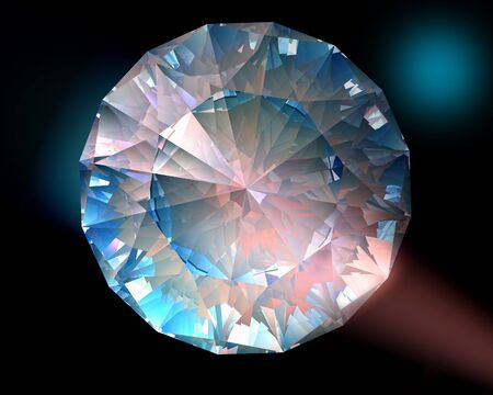 caustic: A diamond sparkles in colorful lights Stock Photo