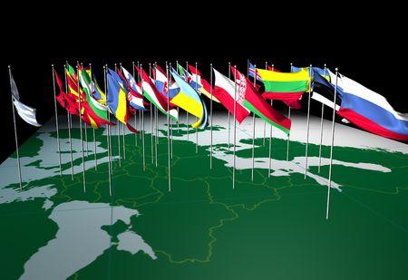 Vlaggen van Europese landen die vanaf hun hoofdsteden. Bekeken vanuit het Oosten.