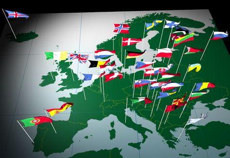Flagi państw europejskich latania z ich stolicami. Oglądane od strony południowej. Zdjęcie Seryjne - 593029