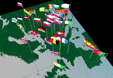 Banderas de países europeos que volaba desde sus ciudades capitales. Visto desde Occidente. Foto de archivo - 593028