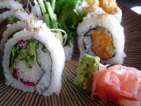 Vegetarian Sushi with pickled ginger slices