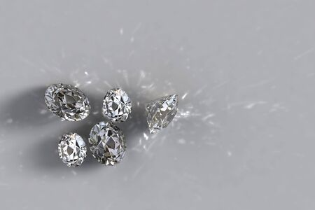 the caustic: Five loose diamonds with shadows and caustic lights