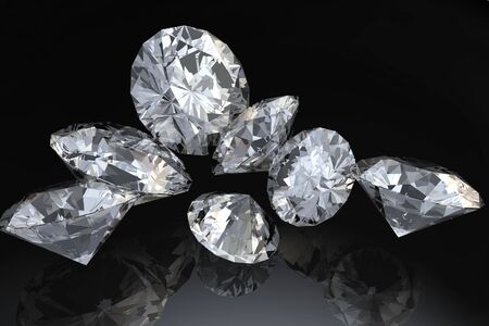 caustic: Seven loose diamonds on black reflective surface.