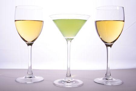 bar ware: Wine and martini glasses in studio light