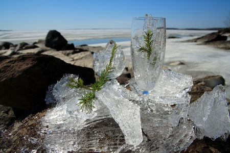 Glasses with ice on the edge of a frozen lake Stock Photo - 3024287