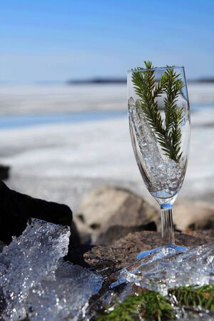 Glasses with ice on the edge of a frozen lake Stock Photo - 3047663