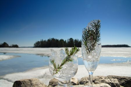 Glasses with ice on the edge of a frozen lake Stock Photo - 3069608