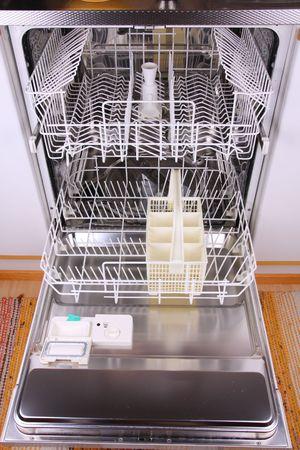 Open empty dishwasher Stock Photo